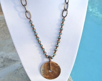 Washer Pendant Necklace with Glistening Aqua Accent - Hardware Jewelry