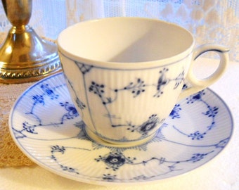 Vintage 1960s Danish Royal Copenhagen Blue Fluted Plain Coffee Tea Cup and Saucer Country French Cottage Chic Blue Floral Porcelain