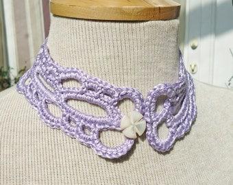 Crochet Delicate Lavander Chocker, Crochet Lavander Chocker, Necklace, UK Seller