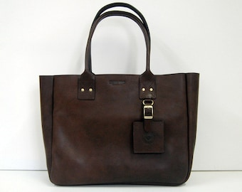 Chocolate New York Tote - Handmade leather Tote bag