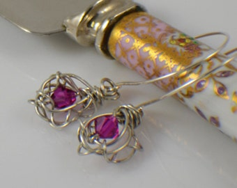 Dressy earrings fuscia pink twisted wire dangle earrings with half hoop silver filled french wires