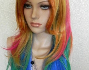 SUMMER SALE // Pink, Orange, Yellow, Green, Blue / Long Wavy Curly Layered Wig Durable for Daily Use, Halloween Costumes,
