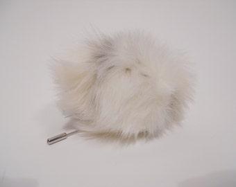 White and Cream Rabbit FAUX Fur Pom Pom Pin