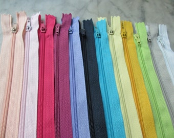 24  New 8 Inch Long Assorted Color Zippers