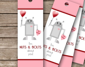"Printable Valentine's Bookmarks - 2""x6""- Nuts & Bolts"