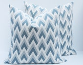 Chevron Pillow Blue Gray Pillow Cover .16x16 Missoni. ZigZag Grey Blue Pillow.Decorative Throw Pillow Covers.Printed fabric both sides