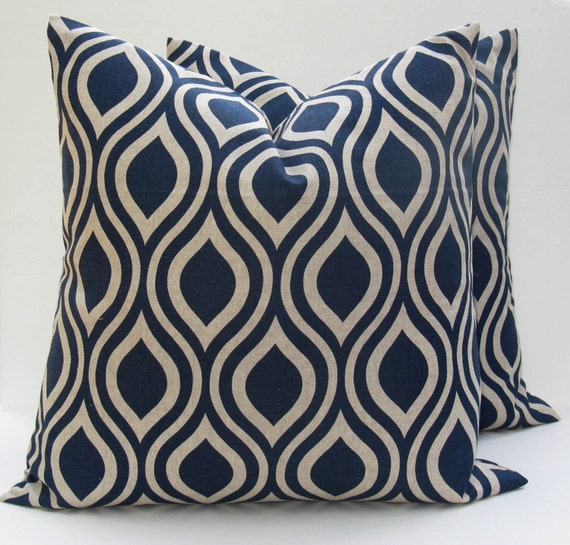 Blue Pillow Blue Pillow Covers Throw Pillow by EastAndNest