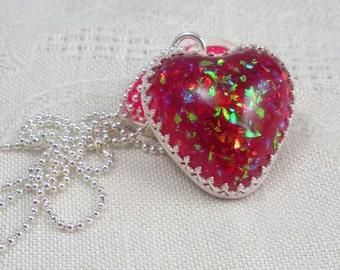 Pendant: red glitter resin heart in sterling silver handmade bezel