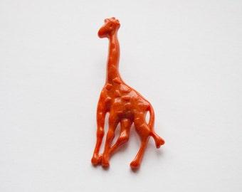 Orange Giraffe Brooch Vintage Plastic Brooch Retro Brooch