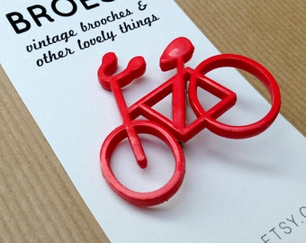 Vintage bicycle brooch red