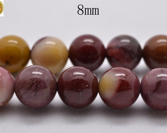 15 inch strand of Mookaite smooth round beads 8 mm