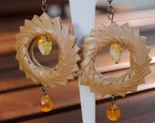 Paper and Bohemia Crystals Earrings - Eco Friendly - Havana brown origami