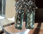 Silver Earrings Chandelier Earrings Pistachio Green Bottle Green Cluster Earrings