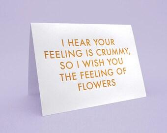 Get Well Soon Card w/ Envelope. 5x7 letterpress style. The Feeling of Flowers