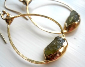 peridot earrings, raw peridot, raw gemstone jewelry, hoop earrings, peridot hoops, gold earrings, gold hoops