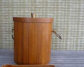 Vintage Mid Century Modern Teak Ice Bucket with Teak Ice Tongs, Retro Barware