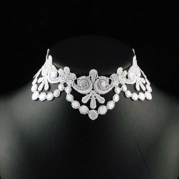 Choker Necklace Etsy: White Lace Choker Necklace Bridal Wedding Romantic By Arthlin