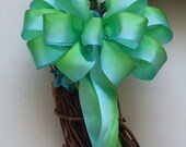 Blue Green Bow Ombre Wedding Pew Bow Bridal Showers Bow Birthday Gifts Wrap Bow