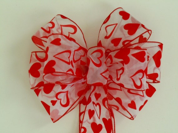 Red Valentine Wreath Bow Red Hearts Wedding decoration Bow Showers Bow Party Birthday Gift Church Pew Bow