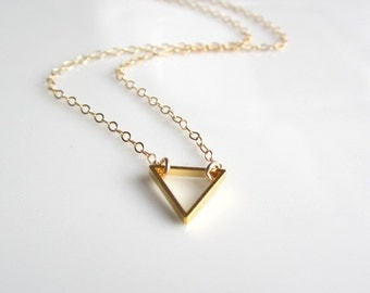 Gold Triangle Necklace, shiny brass triangle necklace, simple geometric jewelry, minimalist jewelry, dainty necklace