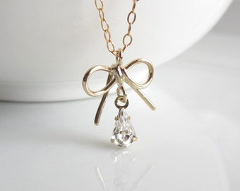 Tiny Bow Necklace, dainty necklace, delicate necklace, everyday necklace, minimalist jewelry