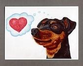 Puppy Dog Valentine Heart Card, Miniature Pinscher, 5x7 Greeting Card Art Print