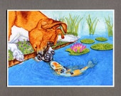 Koi Kisses Greeting Card, Boxer Dog Illustration, 5x7 Koi Fish Pond Art
