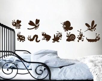 StickTak Stickers Cute Animal Parade Butterfly Ladybug Bee Caterpiller... Vinyl Sticker Wall Art Decal