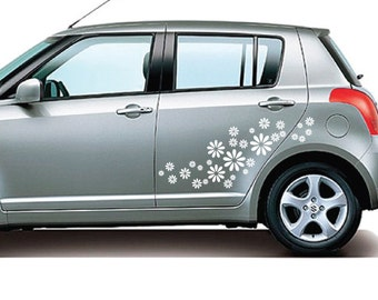 StickTak Stickers Daisy Flowers Car / Window / Wall Vinyl Stickers Bumper Decal 30pcs