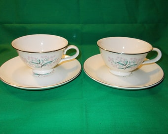 Four (4) Footed Tea Cups and Saucers, from Taylor, Smith & Taylor, in the 2340 Pattern, Circa 1957.