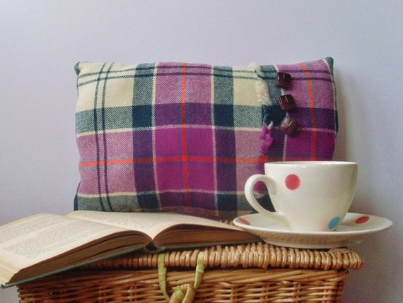 Tartan boudoir pillow cushion