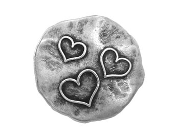 6 Three Hearts 11/16 inch ( 18 mm ) Metal Buttons Silver Color