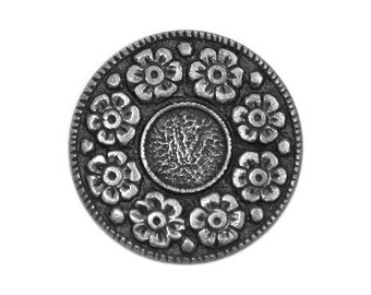 3 Floral Wreath 3/4 inch ( 20 mm ) Metal Buttons Silver Color