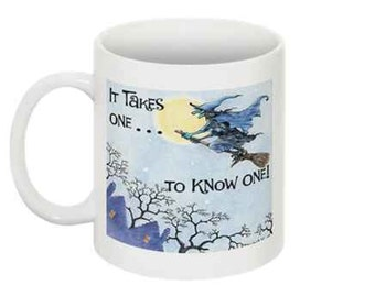 Witch on a Broom Coffee Mug
