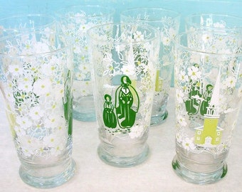 Vintage Libbey Drinking Glasses with Pilgrims Church and dogwood flowers Tumblers set of 7 green white lime green