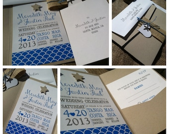 BEACH Wedding Invitation - RUSTIC - Breezy Starfish Collection - Blue - Burlap - 3D- Hemp - Custom - Recycled - Eco Friendly