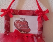 Red with hearts Tutu Picture Frame 4x6