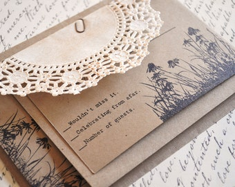 Rustic Flower wedding invitations country wedding Vintage Wedding Invitations Lace