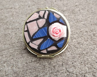 Rose Mosaic Mirror Compact, Pink Rose Hand Held Mirror, Round Compact Mirror, Blue & Pink Purse Mirror, Make Up Mirror, Double Sided Mirror