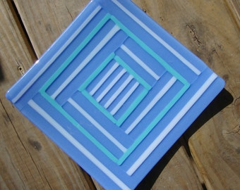 Blue Striped Fused Glass Dish/Plate