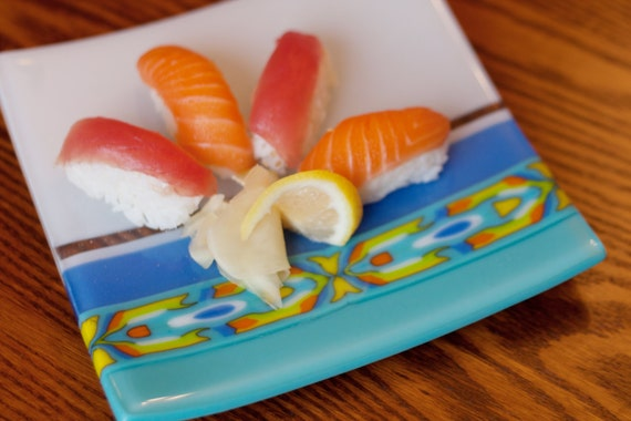 "Glass fused 8x8 square sushi plate/dish with ""southwestern"" pattern bar, white, teal, yellow, orange glass"