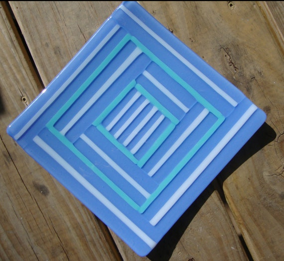 Periwinkle blue, teal and white striped glass fused 8.5 x 8.5 square dish/plate