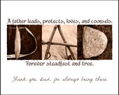 Words Inspired by Nature:  DAD Photographic Print- Antique Sepia (inspirational art, gift, home decor, flowers)