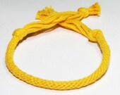 Mustard Yellow Bracelet Kumihimo Fiber Cotton Yellow Jewelry