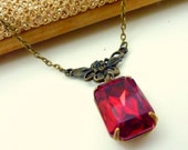 Ruby Necklace Red Necklace Siam Red July birthstone Vintage Rhinestone Estate Style jewelry