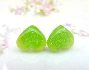 LIME GREEN Earrings apple green heart post earrings studs glitter resin acrylic