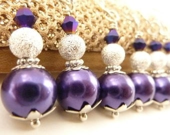 Purple Necklaces deep purple Necklaces Bridesmaids Jewelry purple glass pearls wedding necklace silver chain
