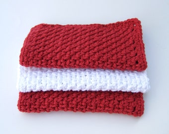 Dishcloths - Washcloths - Country Red and White- Crochet- Cotton- Set of 3