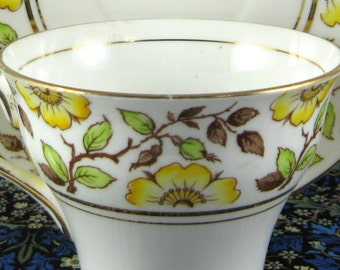 Rosina Cup And Saucer English Bone China 1940s Yellow Dog Roses Hand Colored On Transfer Afternoon Tea