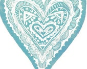 Art print  'have a heart' -  hand printed